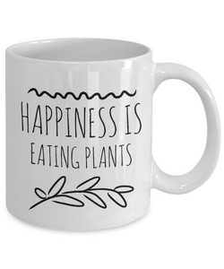 Happiness is eating plants funny mug for vegan-Coffee Mug