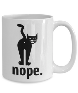 Nope Cat Mug Funny Gift Idea for Novelty Gag Coffee Tea Cup-Coffee Mug