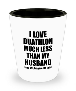 Duathlon Wife Shot Glass Funny Valentine Gift Idea For My Spouse From Husband I Love Liquor Lover Alcohol 1.5 oz Shotglass-Shot Glass