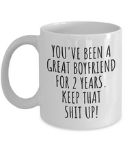 Load image into Gallery viewer, 2 Years Anniversary Boyfriend Mug Funny Gift for BF 2nd Dating Relationship Couple Together Coffee Tea Cup-Coffee Mug