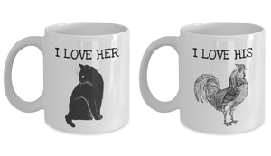 I Love His Cock Her Pussy Mug Set of 2 Funny Gift for Husband Boyfriend Girlfriend Wife Present Idea Dick Gag Penis Joke Coffee Tea Cup-Coffee Mug