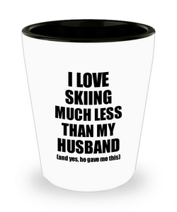 Skiing Wife Shot Glass Funny Valentine Gift Idea For My Spouse From Husband I Love Liquor Lover Alcohol 1.5 oz Shotglass-Shot Glass