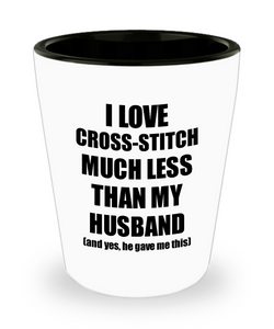 Cross-Stitch Wife Shot Glass Funny Valentine Gift Idea For My Spouse From Husband I Love Liquor Lover Alcohol 1.5 oz Shotglass-Shot Glass