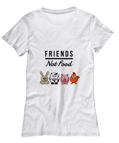 Friends Not Food Cute T-Shirt for Women Funny Vegan Gift Idea Animal Lover Tee-Shirt / Hoodie