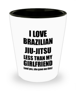 Brazilian Jiu-Jitsu Boyfriend Shot Glass Funny Valentine Gift Idea For My Bf From Girlfriend I Love Liquor Lover Alcohol 1.5 oz Shotglass-Shot Glass