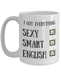 English Coffee Mug England Pride Sexy Smart Funny Gift for Humor Novelty Ceramic Tea Cup-Coffee Mug