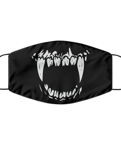 Monster Teeth Face Mask For Men Women Cool Skull Mouth Nose Cover Washable Reusable-Mask