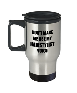 Hairstylist Travel Mug Coworker Gift Idea Funny Gag For Job Coffee Tea 14oz Commuter Stainless Steel-Travel Mug