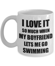 Load image into Gallery viewer, Swimming Mug Funny Gift Idea For Girlfriend I Love It When My Boyfriend Lets Me Novelty Gag Sport Lover Joke Coffee Tea Cup-Coffee Mug