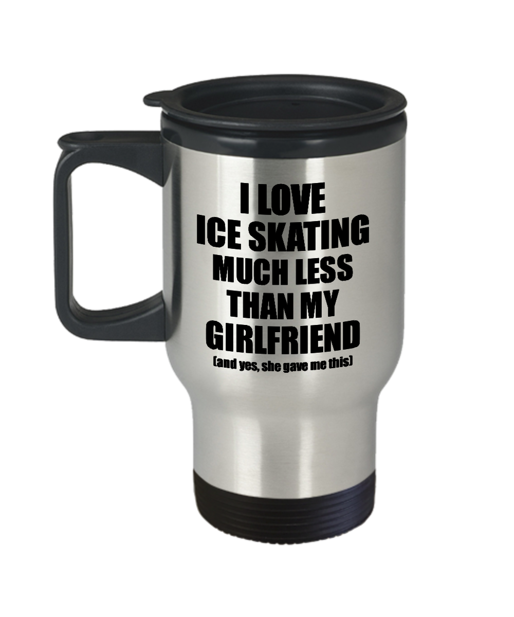 Ice Skating Boyfriend Travel Mug Funny Valentine Gift Idea For My Bf From Girlfriend I Love Coffee Tea 14 oz Insulated Lid Commuter-Travel Mug