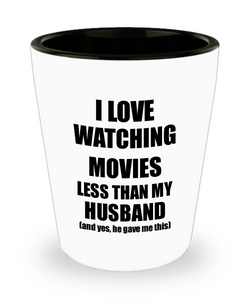 Watching Movies Wife Shot Glass Funny Valentine Gift Idea For My Spouse From Husband I Love Liquor Lover Alcohol 1.5 oz Shotglass-Shot Glass