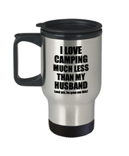 Load image into Gallery viewer, Camping Wife Travel Mug Funny Valentine Gift Idea For My Spouse From Husband I Love Coffee Tea 14 oz Insulated Lid Commuter-Travel Mug