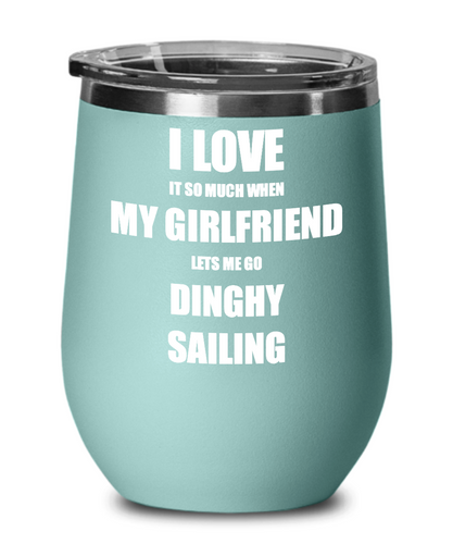 Funny Dinghy Sailing Wine Glass Gift For Boyfriend From Girlfriend Lover Joke Insulated Tumbler Lid-Wine Glass