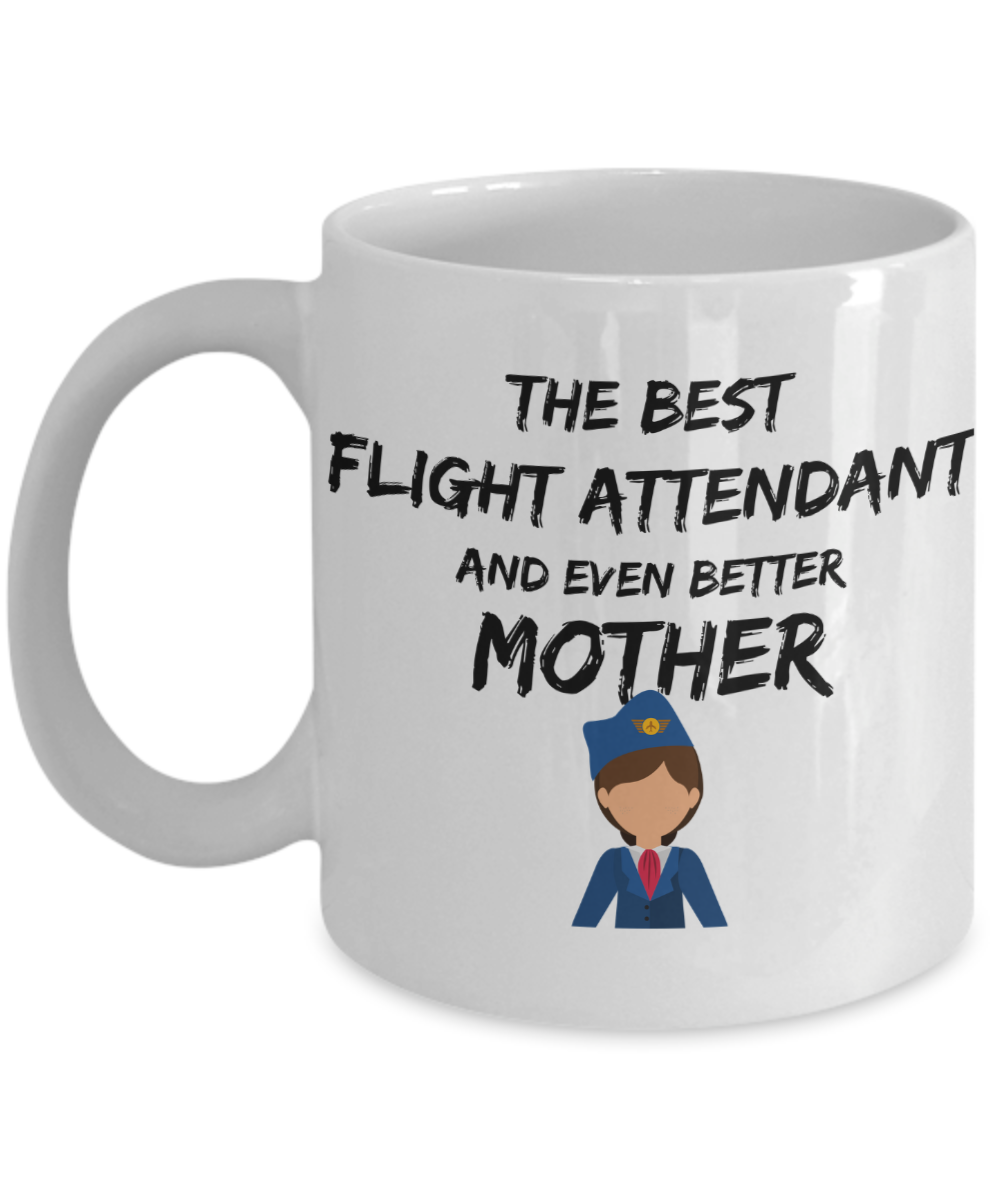 Flight Attendant Mom Mug Best Mother Funny Gift for Mama Novelty Gag Coffee Tea Cup Blue Suit-Coffee Mug