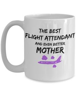 Funny Flight Attendant Mom Coffee Mug Best Mother Gift for Mama Novelty Gag Tea Cup Purple Plane-Coffee Mug