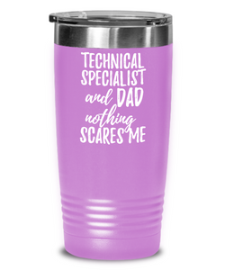 Funny Technical Specialist Dad Tumbler Gift Idea for Father Gag Joke Nothing Scares Me Coffee Tea Insulated Cup With Lid-Tumbler