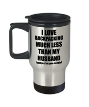 Load image into Gallery viewer, Backpacking Wife Travel Mug Funny Valentine Gift Idea For My Spouse From Husband I Love Coffee Tea 14 oz Insulated Lid Commuter-Travel Mug