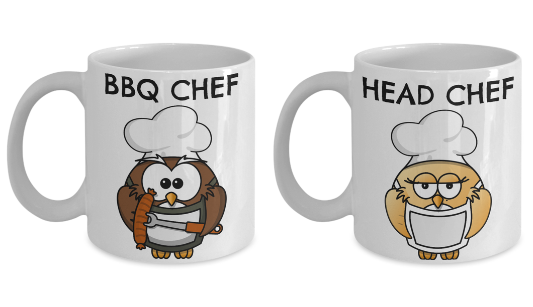 Funny BBQ CHEF, Head CHEF Mug Owl Lover mug for Couple-Coffee Mug
