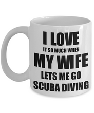 Load image into Gallery viewer, Scuba Diving Mug Funny Gift Idea For Husband I Love It When My Wife Lets Me Novelty Gag Sport Lover Joke Coffee Tea Cup-Coffee Mug