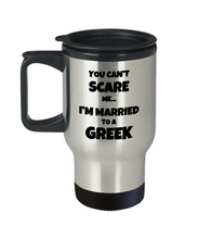 Load image into Gallery viewer, Greek Travel Mug Husband Wife Married Couple Funny Gift Idea for Car Novelty Coffee Tea Commuter 14oz Stainless Steel-Travel Mug
