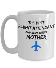Load image into Gallery viewer, Flight Attendant Mom Coffee Mug Best Mother Funny Gift for Mama Novelty Gag Tea Cup Blue Plane-Coffee Mug