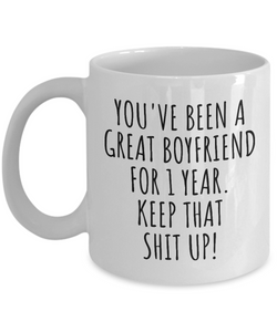 1 Year Anniversary Boyfriend Mug Funny Gift for BF 1st Dating Relationship Couple Together Coffee Tea Cup-Coffee Mug
