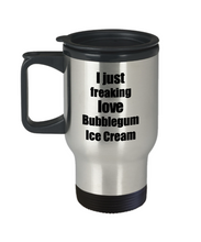 Load image into Gallery viewer, Bubblegum Ice Cream Lover Travel Mug I Just Freaking Love Funny Insulated Lid Gift Idea Coffee Tea Commuter-Travel Mug