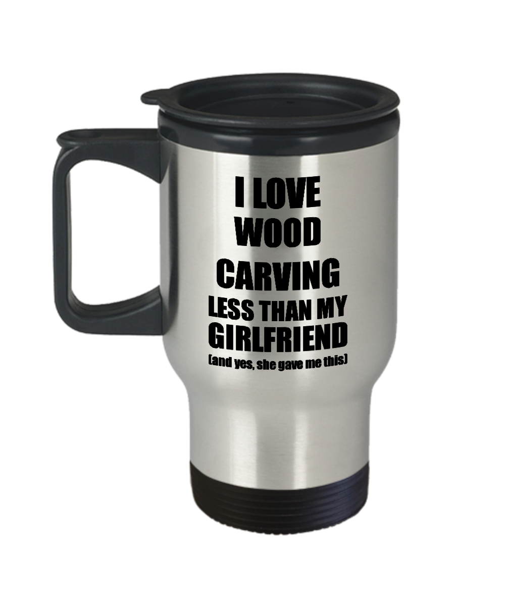 Wood Carving Boyfriend Travel Mug Funny Valentine Gift Idea For My Bf From Girlfriend I Love Coffee Tea 14 oz Insulated Lid Commuter-Travel Mug
