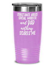 Load image into Gallery viewer, Funny Substance Abuse Social Worker Dad Tumbler Gift Idea for Father Gag Joke Nothing Scares Me Coffee Tea Insulated Cup With Lid-Tumbler