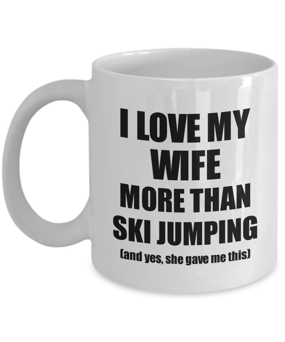 Ski Jumping Husband Mug Funny Valentine Gift Idea For My Hubby Lover From Wife Coffee Tea Cup-Coffee Mug