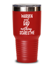 Load image into Gallery viewer, Funny Warden Dad Tumbler Gift Idea for Father Gag Joke Nothing Scares Me Coffee Tea Insulated Cup With Lid-Tumbler