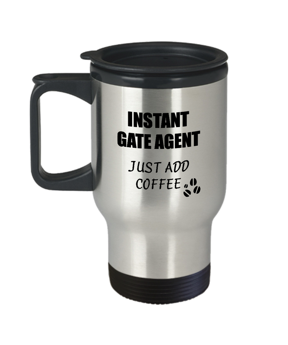 Gate Agent Travel Mug Instant Just Add Coffee Funny Gift Idea for Coworker Present Workplace Joke Office Tea Insulated Lid Commuter 14 oz-Travel Mug