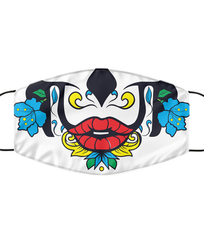 Calavera Face Mask Day Of The Death Blue Flower Cool Mouth Nose Cover Washable Reusable-Mask