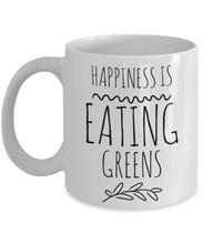 Load image into Gallery viewer, Happiness is Greens funny mug for vegan-Coffee Mug