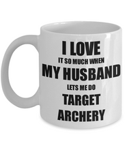 Load image into Gallery viewer, Target Archery Mug Funny Gift Idea For Wife I Love It When My Husband Lets Me Novelty Gag Sport Lover Joke Coffee Tea Cup-Coffee Mug