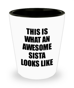 Awesome Sista Shot Glass Funny Gift Idea For My Sister Looks Like Novelty Gag Liquor Lover Alcohol 1.5 oz Shotglass-Shot Glass