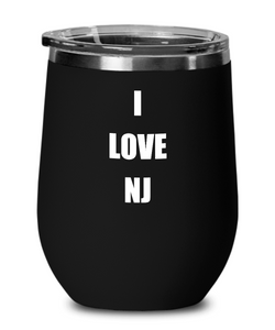 I Love Nj Wine Glass Sayings Funny Gift Idea Insulated Tumbler With Lid-Wine Glass