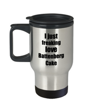Load image into Gallery viewer, Battenberg Cake Lover Travel Mug I Just Freaking Love Funny Insulated Lid Gift Idea Coffee Tea Commuter-Travel Mug