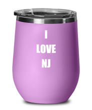 Load image into Gallery viewer, I Love Nj Wine Glass Sayings Funny Gift Idea Insulated Tumbler With Lid-Wine Glass