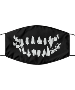 Skull Teeth Face Mask Cool Mad Smile Monster Mouth Nose Cover Washable Reusable-Mask