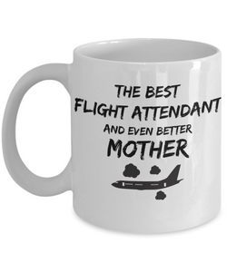 Funny Flight Attendant Mom Gift Best Mother Mug for Mama Novelty Gag Coffee Tea Cup Black Plane-Coffee Mug