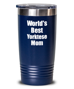Yorktese Mom Tumbler Worlds Best Dog Lover Funny Gift For Pet Owner Coffee Tea Insulated Cup With Lid-Tumbler