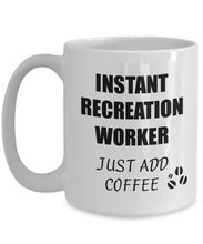 Load image into Gallery viewer, Recreation Worker Mug Instant Just Add Coffee Funny Gift Idea for Corworker Present Workplace Joke Office Tea Cup-Coffee Mug