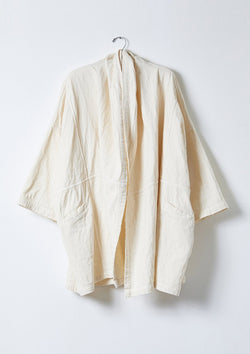 Atelier Delphine's signature Haori coat. Crafted in a beautiful Japanese double layered cotton gauze with a natural crinkle texture.   Relaxed, oversized and unisex fit. XS will fit most. 2 hip pockets Hem sits below the hip 100% Organic cotton Made in USA Machine wash gentle cycle / hand wash / tumble dry low