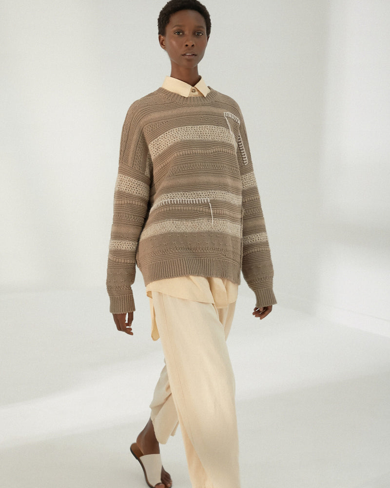 Mónica Cordera Patched Sweater in Taupe