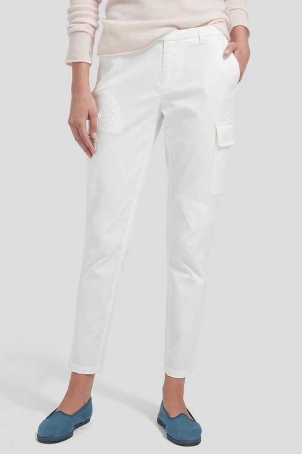 Distressed Cargo Pant in White