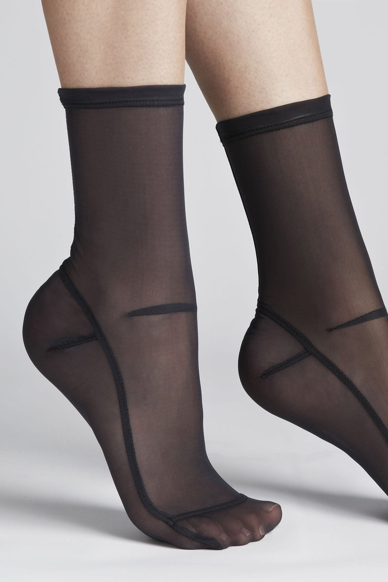 Mesh Socks in Solid Black