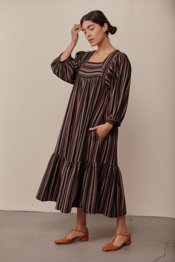 Sugar Candy Mountain's signature Big Sur dress reimagined in a cozy, limited-edition striped cotton flannel. This swingy mid-length dress featuring a square neckline, ¾ length sleeves and side pockets.