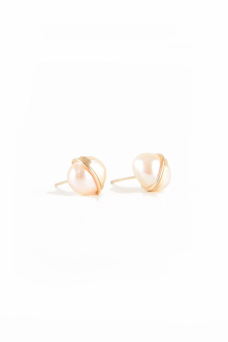 Mary MacGill Large Baroque Studs in Champagne