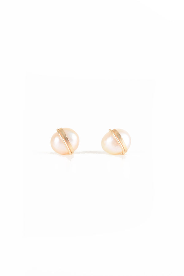 Large Baroque Studs in Champagne